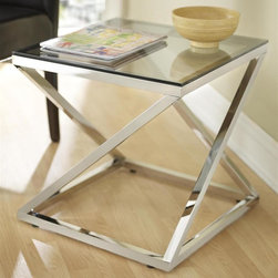 Tag Furniture Group - Gramercy End Table - Coated glass shelf. Polished stainless steel frame. Can be used as bedside table. 19.7 in. W x 19.7 in. D x 19.7 in. H (32 lbs.)