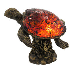 Zeckos - Beautiful Swimming Brown Sea Turtle Crackle Glass Lamp - This beautiful crackle glass swimming sea turtle accent lamp adds the perfect accent to desks or nightstands of turtle lovers. Measuring 7 1/2 inches tall, 8 inches long and 6 inches wide, the lamp features an antiqued bronze finished cold cast resin base of a coral reef. The head and legs of the turtle are also bronzed resin. The shell is made of dark amber crackle glass. It uses nightlight style bulbs (included), and has a 6 foot long power cord with a toggle on/off switch. It makes a great gift idea.