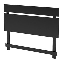South Shore - South Shore Affinato Full / Queen Panel Headboard in Solid Black Finish - South Shore - Headboards - 3270270 - With its solid black finish and sleek, simple lines, the South Shore Affinato Panel Headboard will enhance any kids bedroom. Available in Full / Queen size, this headboard features a decorative panel the resembles the optional Affinato Vertical Mirror. Add contemporary charm to your kid's bedroom with the Affinato Panel Headboard.