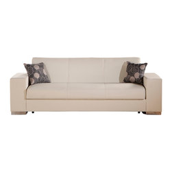 Istikbal - Kobe Escudo Cream Sofa Sleeper - This compact, modern convertible Kobe Escudo Cream PU 3 Seat Sleeper with steel Legs in an understated durable design. Modern elegance combined with comfort and multifunctional. A sofa that converts to a bed and seats three comfortably.