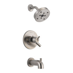 Delta - Delta T17459-SS Trinsic Series Tub/Shower Trim - The Delta T17459-SS is a Trinsic Series Tub/Shower Trim. This shower trim features a Monitor 17 Series Pressure Balanced Bath Mixing Valve, an H2OKinetic shower head, a shower arm and flange, a back-to-back installation capability, a solid brass construction, a lever handle for precise volume control, a pull-up diverter tub spout, a temperature adjustment dial, and a field adjustable hot water zone limit. This trim kit requires an R10000 Series MultiChoice Universal Rough Valve Body, which is sold separately. This model comes in a classic, Stainless Steel finish.