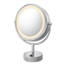 Aptations - Kimball & Young 72545 Neomodern Mirror - Kimball & Young 72545 Double Sided Neomodern Led Lighted Mirror 5X/1X Chrome