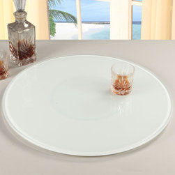 Chintaly Imports - 24 Round Glass Rotating Tray, White - 360 Degree Rotatable Tray. Round Painted White Glass.