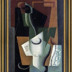 """Art MegaMart - Juan Gris Glass and Bottle - 16"""" x 24"""" Framed Premium Canvas Print - 16"""" x 24"""" Juan Gris Glass and Bottle framed premium canvas print reproduced to meet museum quality standards. Our Museum quality canvas prints are produced using high-precision print technology for a more accurate reproduction printed on high quality canvas with fade-resistant, archival inks. Our progressive business model allows us to offer works of art to you at the best wholesale pricing, significantly less than art gallery prices, affordable to all. This artwork is hand stretched onto wooden stretcher bars, then mounted into our 3 3/4"""" wide gold finish frame with black panel by one of our expert framers. Our framed canvas print comes with hardware, ready to hang on your wall.  We present a comprehensive collection of exceptional canvas art reproductions by Juan Gris."""