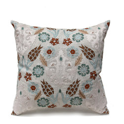 Tulip Trellis Pillow - Light Natural/Blue/Taupe - Gloriously embellished with the rich patterns and colorful hues of Persian handiwork traditions, but featuring an ornamental garden's worth of the most beloved flowers of Europe, the Tulip Trellis accent pillow brings texture, color, and visual pleasure to your daybed, chaise, window seat, or wherever you place it. The square pillow has stylized craftsman florals and subtle tone-on-tone scrollwork to make it a true feast for the eyes. A hidden bottom zipper keeps the sleek shape, while a firm feather insert maintains the luxury.