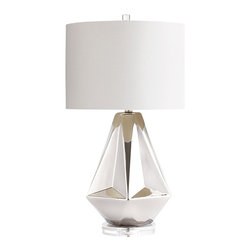 Cyan Design - Silver Sails Table Lamp - Set Sail with the Silver Sails Table Lamp. Crafted of of ceramic with a chrome finish and topped with an off white cotton shade with an off white lining, this beautiful table lamp gives off a luminous coastal vibe. This simple and modern table lamp is chic and ready to give off just the right lighting ambience. Use the Silver Sails Table Lamp as task lighting in the living room, bedroom, keeping room, foyer or home office for a sophisticated style free of distraction.