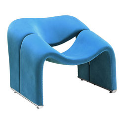 "Modway - Cusp Lounge Chair in Blue - Start at fresh beginnings with the Cusp modern lounge chair. Made of dense foam padding and fabric upholstery, Cusp is a transition piece unlike anything else on the market today. The craftsmanship is readily evident in this piece that more resembles a display of organically expressive art, than it does a chair. But the practical elements of Cusp are just as delightful as the artistry. Sit deeply as you spread your arms out, and relax your neck and shoulder muscles, as you bask at the horizon line ahead. Set Includes: One - Cusp Lounge Chair. Modern lounge chair; Dense foam padding; Upholstered in fabric; Built in armrests; No assembly required; Overall Product Dimensions: 27.5""L x 33""W x 27.5""H; Seat Dimensions: 21""L x 15.5 - 19""H; Chair Legs Thickness: 2.5""W"