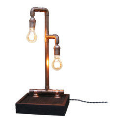 Wayne Works - Copper Steampunk Desk Lamp - Stand apart and give your work area a warm vintage glow from these two 60W Victorian style vintage bulbs suspended from a structure of brushed copper.