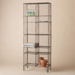WRIGHT'S PEAK WIRE TALL STORAGE BOOKCASE - Allegedly, these handsome shelves originated in a Rocky Mountain dairy. They have made vintage modern style and look good filled with everything from pantry items to books. Need a lot of storage? Buy several to cover an entire wall.