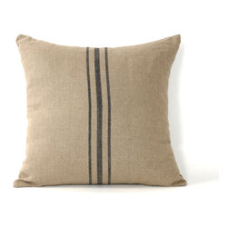 Zentique - Blue Stripe Pillow - This is a 24x24 natural linen pillow with a blue stripe in the center.