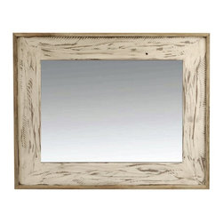 MyBarnwoodFrames - Rustic Mirror 18x26 Rustic Denali Antique White Heavily Distressed Wood Mirror - The Denali Rustic Mirror is a distinctive mirror style crafted to mimic rough sawn lumber. Handcrafted with a hardwood (alder) frame with a base which is stained dark and then over-painted antique white. Each frame is then hand-distressed to allow the darker wood undertones to show through and give it the look of antique lumber. Next,a layer of glaze is applied to give the frame an antiqued color hue. A final layer of clear lacquer protects the finish and the wood. Finally, a cap of natural reclaimed wood is added to surround the frame base. Handcrafted in the USA. Mirror can hang horizontally or vertically.