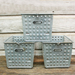 Vintage Industrial Wire Locker Basket by Aurora Mills - I like the vintage style of these bins. They would look great lined up on the bottom shelf of my son's bookcase, filled with his collections.