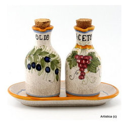 Artistica - Hand Made in Italy - Rustica: Oil and Vinegar Cruets Set with Tray - Rustica translated from Italian means rustic, which aptly describes the weathered-looking, mottled background and country colors of this Rustica Oil and Vinegar Cruet Set.
