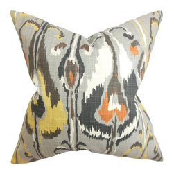 The Pillow Collection - Gudrun Ikat Pillow Gray - Liven up your home with this trendsetting throw pillow. Striking and eclectic, this square pillow features a traditional-inspired ikat pattern in shades of gray, white, orange and yellow. Display this accent pillow with other patterns and solids for a gorgeous blend of elements. Made of 100% soft and durable cotton material. Hidden zipper closure for easy cover removal.  Knife edge finish on all four sides.  Reversible pillow with the same fabric on the back side.  Spot cleaning suggested.