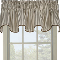 None - Ticking Green Stripe Wave Valance - Give your window a fresh look with this beautiful hunter green ticking stripe scallop valance. The timeless pattern is set on a cream colored background with a coordinating bias binding edge that will compliment any decor.