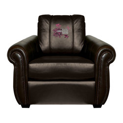 Dreamseat Inc. - Worlds Greatest Mom Chesapeake Black Leather Arm Chair - Check out this Awesome Arm Chair. It's the ultimate in traditional styled home leather furniture, and it's one of the coolest things we've ever seen. This is unbelievably comfortable - once you're in it, you won't want to get up. Features a zip-in-zip-out logo panel embroidered with 70,000 stitches. Converts from a solid color to custom-logo furniture in seconds - perfect for a shared or multi-purpose room. Root for several teams? Simply swap the panels out when the seasons change. This is a true statement piece that is perfect for your Man Cave, Game Room, basement or garage.