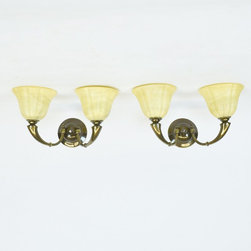 Pair of Antique Brass Two Arm Sconces with Alabaster Globes - Dimensions:W 17''  × H 11''