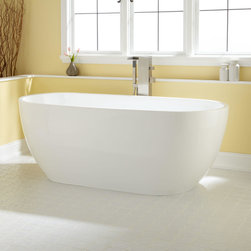 """67"""" Modern Oval Acrylic Tub - This freestanding bathtub is made of quality acrylic and has a sleek oval shape. This sizable tub has plenty of room for soaking."""