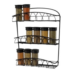Spectrum Diversified Designs - Twist Wall Mount Spice Rack - Store all of your spices in one place with the 3-Tier Twist Wall Mount Spice Rack. Made of sturdy steel, its sleek design will add a traditional touch to your home.