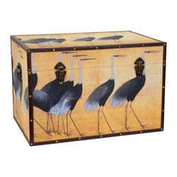 Art Furniture - Side tables, Chests, Trunks, Nightstands - Graceful flock of cranes printed on art-quality canvas