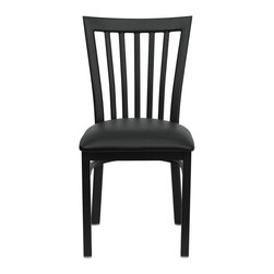 Flash Furniture - Hercules Series Black School House Back Metal Restaurant Chair - Black Vinyl Sea - Provide your customers with the ultimate dining experience by offering great food, service and attractive furnishings. This heavy duty commercial metal chair is ideal for Restaurants, Hotels, Bars, Lounges, and in the Home. Whether you are setting up a new facility or in need of a upgrade this attractive chair will complement any environment. This metal chair is lightweight and will make it easy to move around. For added comfort this chair is comfortably padded in vinyl upholstery. This easy to clean chair will complement any environment to fill the void in your decor.