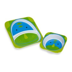 Skip Hop - SKIP*HOP Zoo Dinosaur Melamine Plate and Bowl Tableware Set - Kids will love mealtime even more when eating with their favorite Zoo character. This durable, melamine tableware set includes 1 plate and 1 bowl and is perfect for anytime snacking and regular meals.