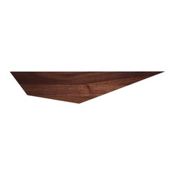 David Hsu Design - David Hsu Design Peliship Floating Shelves, Medium Right, Walnut - Peliships are wall-mounted ledges designed for those of us who have rid ourselves of physical books and magazines in favor of digital media, leaving behind objects that remind us of who we are and where we have been. Inspired by water vessels, a closer look at the wood grain one might imagine barnacles or lines of water ripples. Some have also said a wall of Peliships look like a flock of pelicans carrying our precious cargo and hence its given name. Solid Wood Construction