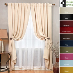 None - Blackout and Sheer 83-inch Curtain 4-piece Panel Set - Design your window with this elegant and functional sheer curtain. This blackout curtain set provides protection from heat and cold through insulation and extra lining. The set includes two blackout curtain panels and two long crushed sheer panels.