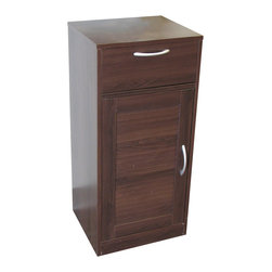 4D Concepts - 4D Concepts Bathroom 1 Louvered Door/1 Drawer Base Cabinet in Espresso - What a great storage unit for any room in the home!  This base cabinet has 1 decorative louvered formed doors with shaped pewter colored handle that swings open to one adjustable shelf behind the door .  The shaped pewter colored handle opens on metal glides with great storage for all of your needs.   Constructed of Composite Board and highly durable PVC laminate.  Clean with a dry non abrasive cloth.   Assembly required