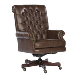 Hekman - Home Office Executive Tilt Swivel Tufted Office Chair - Coffee - This is a beautiful piece of top-quality furniture that's perfect for your Man Cave, Game Room, Office or anywhere you would like to decorate and show your personal style.