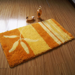 Elegant Orange And Yellow Stripe Design non-slip Bath Mat - This rug features an attractive pattern that traps moisture and dirt. The Square layout design has a rich look and feel, and extraordinary texture offers warms, comfort, and versatility. The rear side of the product is covered by natural latex to prevent slipping. Suitable for your living room, bedroom, bathroom and the office. Machine washable and easy to clean. This stylish rug is sure to add a touch of whimsy to any room in your home.