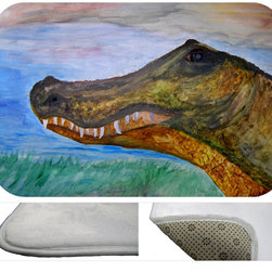 """usa - Alligator Head Bath Mat,  30"""" X 20"""" - Bath mats from my original art and designs. Super soft plush fabric with a non skid backing. Eco friendly water base dyes that will not fade or alter the texture of the fabric. Washable 100 % polyester and mold resistant. Great for the bath room or anywhere in the home. At 1/2 inch thick our mats are softer and more plush than the typical comfort mats. Your toes will love you."""