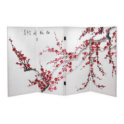Oriental Furniture - 3 ft. Tall Double Sided Plum Blossom Canvas Room Divider - This three foot tall canvas room divider features a classic Chinese scene. Known for their sublime beauty, the blossoming plum tree has been a fixture in Chinese art and poetry for centuries. The bright red blossoms first appear amidst the white winter snow and are an early sign of spring, representing hope, perseverance, and purity amidst hardship. This beautiful four panel screen recreates that winter scene, bringing the beauty of Chinese art and the hope of a new spring to your home or business