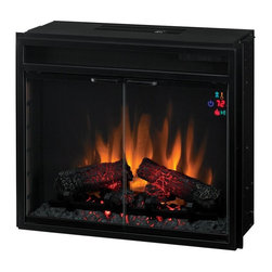 Classic Flame - Classic Flame 23 Inch Electric Insert F/X Multicolor - 23EF025GRA - Shop for Fire Places Wood Stoves and Hardware from Hayneedle.com! The Classic Flame 23-Inch Electric Insert F/X fits several models of Classic Flame mantels including the Amherst Portland and Scottsdale. The interior is coated with a black powder-coat finish and a painted brick facade. The beautiful hand-carved glowing logs and embers give a realistic flame effect and a multi-function remote control allows you to control the flame heat and embers from afar. This insert also includes a center-mount door handle and heads-up display (HUD) that relays important information like the temperature and fan speed. Dimensions: 20H x 23.6W x 10D inches. Viewable area: 21W x 15H inches. Classic Flame manufactures finely crafted electric fireplaces designed in the most sought-after furniture styles and finishes. Classic Flame's tasteful use of the finest hardwoods veneers and proprietary finishes has vaulted the company to be recognized as the fashion leader in the electric fireplace marketplace and its fireplaces have won numerous design awards - including Best of Market by Furniture Today the past three years. The 2004 award by Furniture Today represented the first time an electric fireplace manufacturer won the Best of Market Award. All Classic Flame electric fire products are tested and certified to comply with CSA Standard No. C22.2 No. 46 (Electric Air Heaters) and UL 2021 2nd. Edition (Fixed and Location - Dedicated Electric Room Heaters). Classic flame products include a 1-year limited warranty guaranteeing workmanship and material quality for 1 year from the date of purchase assuming normal use. Please contact Twin Star at 866-661-1218 or our Customer Care Center for service issues and questions regarding product guarantee.