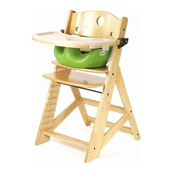 Keekaroo - Keekaroo Height Right High Chair Natural with Lime Infant Seat & Tray Multicolor - Shop for Highchairs from Hayneedle.com! You wish your baby would stay tiny but they never listen. Thankfully the Keekaroo Height Right High Chair with Infant Seat & Tray - Lime will grow right along with your tot. This strong rubberwood chair with natural finish includes a seat that's adjustable in height and depth from 6 months to adult. The footrest can be raised to just the right spot for supportive comfortable dining. No more squirming! A 3-point safety belt is included. It's backed by a 5-year warranty. Assembles easily. Using the High Chair's 3-point harness the Infant Seat slips in to provide cushy support and security to children still discovering their balance. High sides hold them straight and the integrated pommel keeps them from squirming loose. But why squirm? The latex-free Lime-colored seat is cushy-soft and comfortable impermeable to fluids and easy to clean. The Keekaroo Feeding Tray has a natural satin finish to match the Height Right Chair and cleans easily with a wipe. It includes a built-in ledge to keep dishes toys and spills under control. The tray removes easily out of your way while you load and unload your happy toddler. Keekaroo cares about the environment. That's why they use only eco-friendly rubberwood which after its use for adhesives is crafted in building fine furniture. In addition the finish on this high chair is composed from a plant-based lacquer with no pigment or lead and has low volatile organic compounds. So rest assured that you're making a green choice with Keekaroo! High chair seat dimensions: 16.5W x 9.5D inchesSeat height: 16.5-24.5 inches Infant seat dimensions:Inside of seat: 10W x 8D inchesOuter seat: 13.5W x 13.5D inchesSeat of chair to seat of booster height: 3 inchesOverall insert height: 5.5 inches About KeekarooKeekaroo high chairs and accessories were the brainchild of a father devoted to making better safer furniture for his own children. Rethinking size shape and support from the perspective of a parent owner Tom Bergeron tapped the creativity and insights of his own children to create the most innovate line of high chairs and accessories available. Each offers a more comfortable seating experience grows with your child and has an easy-to-clean surface for mom and dad.