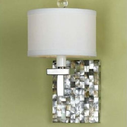 AF Lighting - Candice Olson Abalone Shell Silver One-Light Sconce - Chrome with Crystal Accents  Abalone Shell. Includes Cream Shade.  -Materials: Metal and Crystal AF Lighting - 7485-1W