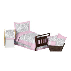 Sweet Jojo Designs - Elizabeth Pink and Gray Damask 5-Piece Toddler Bedding Set by Sweet Jojo Designs - The  toddler bedding by Sweet Jojo Designs includes: comforter, sham, pillowcase, fitted sheet and a flat sheet.