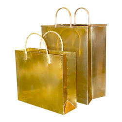 "Vintage Italian Brass Shopping Bag Magazine Holders - This is a vintage set of brass ""shopping bags."" How's that for a glam magazine holder?"