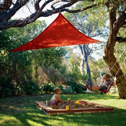 Coolaroo All-Purpose Party Shade Sail - Be ready for guests at the drop of a hat with the Coolaroo All-Purpose Party Shade Sail. This triangular-shaped sail features grommet corners and snare lines for a fast and easy installation. Your guests will be relaxing in the shade in no time. The advanced polymer fabrics used in the construction of this sail allows cool breezes to flow through and hot air to escape so no matter how hot it is you'll be cool and comfortable. Up to 90 percent of the sun's harmful UV rays are blocked by this state-of-the-art material yet it remains totally unaffected by moisture and natural temperature extremes. This fabric is knitted not woven so it won't tear or fray. Choose from several stylish colors to enhance your outdoor space.