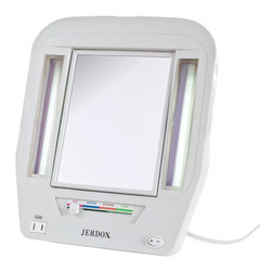"""Jerdon - Euro Tabletop Dual Sided Lighted Makeup Mirror with Built-In Outlet - The Euro Tabletop Two-Sided Lighted Makeup Mirror is a bathroom and makeup mirror with cool to the touch fluorescent lighting and a built-in electrical outlet that fits nicely on any tabletop. Adjustable magnification and versatile illumination makes this mirror perfect for your beauty needs. Designed with a sleek contemporary look and attractive white finish to match any home decor, the stands up by itself on your countertop, vanity or dresser with a folding back stand. This mirror can be laid flat for travel or easy storage. Features: -1x and 5x magnification. -Finish: White. -4 adjustable lighting settings for color correct lighting selections: daytime, evening, home and office. -Center mirror swivels. -Glare free fluorescent lighting. -120-volt electrical outlet built-in for curling irons, blow dryers and other appliances. -Sleek contemporary look and attractive. -Manufacturer provides 1 year limited warranty. Dimensions: -14.17"""" H x 12.25"""" W x 3.2"""" D, 2.6 lbs."""
