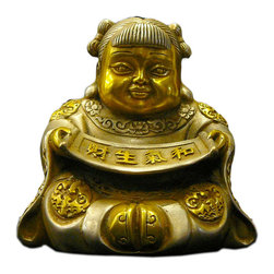 Golden Lotus - Chinese Silver Gold Color Lucky Kid Decor Figure - This is an oriental figure of a kid bringing / holding luck fortune.