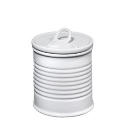 """Frieling - Porcelain Container - This """"can"""" looks like it holds """"goods,"""" such as fruit, vegetables or soup, but never judge a can by its cover. It's actually a cleverly designed storage container, sure to add a touch of playful illusion into your kitchen."""
