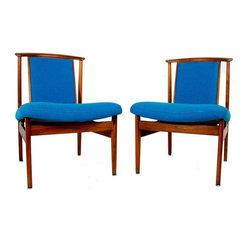 Danish Modern Teak Slipper Chairs by Dux - A Pair - Dimensions 21.5ʺW × 28.5ʺD × 30.5ʺH