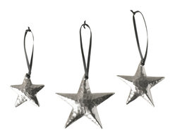 Native Trails - Copper Star Ornaments, Brushed Nickel, Set of 3 - The stars are out! Handmade by artisans, these one-of-a-kind hand star-shaped ornaments are finished in nickel and hand brushed, to charm and delight. Tied with black ribbon, these elegant ornaments will arrive in an organza bag perfectly prepared to take top billing or to act as co-star.