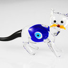 Lucky Cats Desktop Evil Eye Amulets - Handmade Lampork Glass Lucky Eye Amulet for Your Desktops.