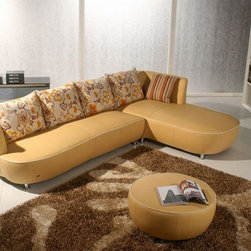 Graceful All Real Leather Sectional with Pillows - Features:
