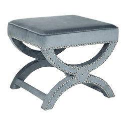 Safavieh - Safavieh Mystic Storage Ottoman X-D5464RCM - A contemporary descendant of the Savonarola chair originally named for a 15th-century Dominican cleric, our Mystic bench bears the distinctive curved X that forms its graceful legs. Upholstered in storm blue polyester fabric with self-welting nickel nailh