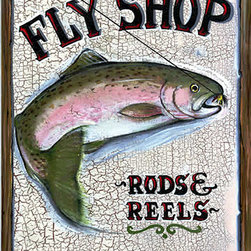 Red Horse Signs - Vintage Fly Shop Sign Rods and Reels - Vintage  Fly  Shop  Sign  -  Rods  and  Reels  -    Add  one  of  our  vintage  Fly  Shop  Rustic  signs  to  your  lodge  decor  for  a  retro  style  that  appeals  to  any  fly  fishing  enthusiast.  Measuring  12x15,  this  sign  is  directly  printed  to  distressed  wood  with  all  the  knots  and  imperfections  of  real  weathered  wood.  Sign  says,  Fly  Shop,  Rods  and  Reels,  Backcountry  Guide.    Product  Specifications:        Rustic  Lodge  Sign    Finished  size:  12x15    Printed  directly  to  distressed  wood