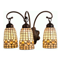 """Meyda Tiffany - 18""""W Tiffany Acorn 3 Lt Vanity Light - Louis Comfort Tiffany inspired Golden Acorns dance playfully in a ring around these geometric grid patterned elongated shades in Autumn Harvest Ivory. The simply stated three light vanity is finished in a Warm Mahogany Bronze."""