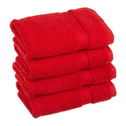Luxurious Egyptian Cotton 900 Gram 4-Piece Red Hand Towel Set - Luxurious Egyptian Cotton 900GSM 4pc Red Hand Towel Set